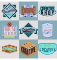 Assorted color retro design insignias logotypes vector image