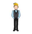 business man cartoon standing people employee vector image