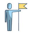 businessman holding flag in pole achievement vector image