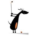 Dog playing golf vector image