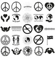 peace set black icon on white vector image