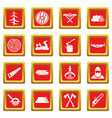 timber industry icons set red vector image
