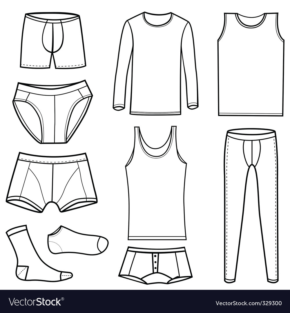 Mens clothing and underwear vector