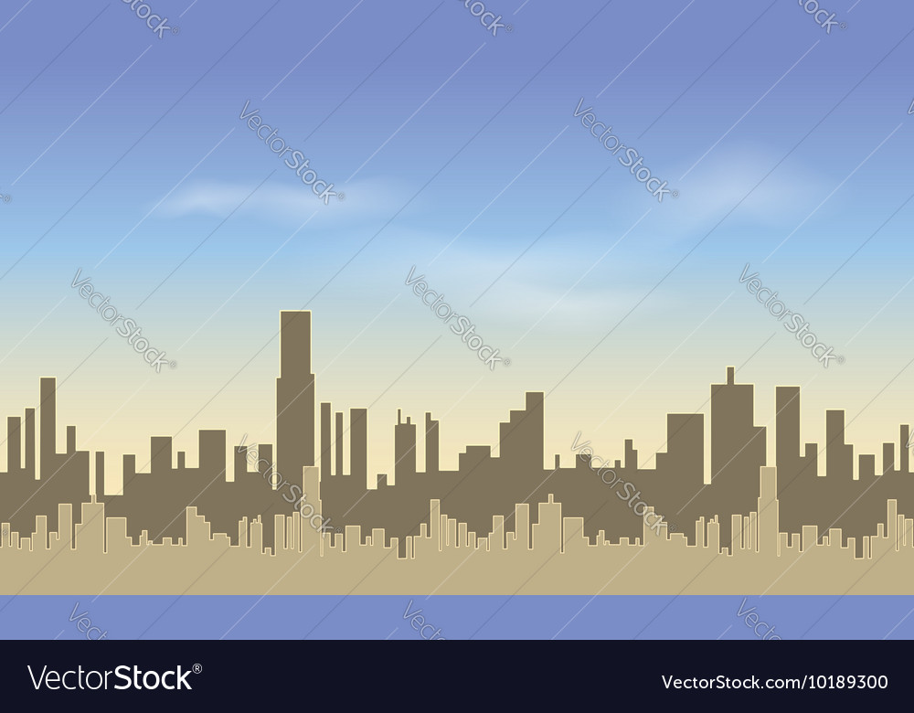 Seamless city silhouettes of of tall buildings vector