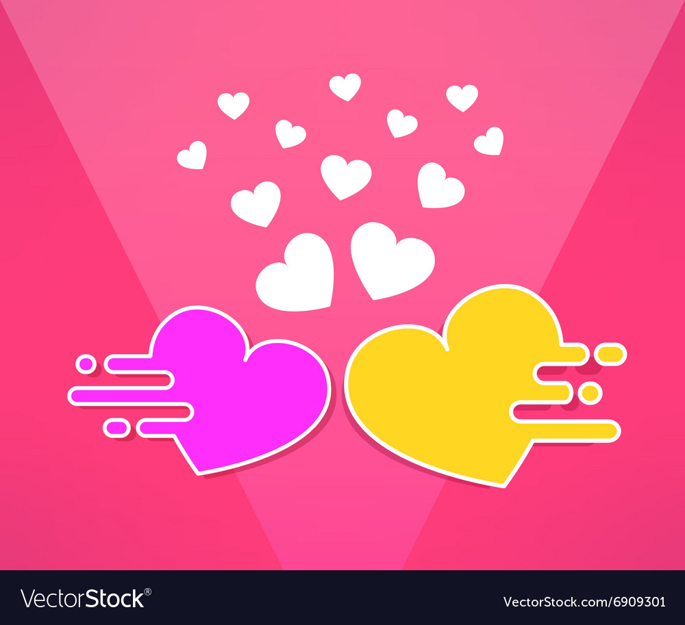 Mooving hearts background in modern flat vector