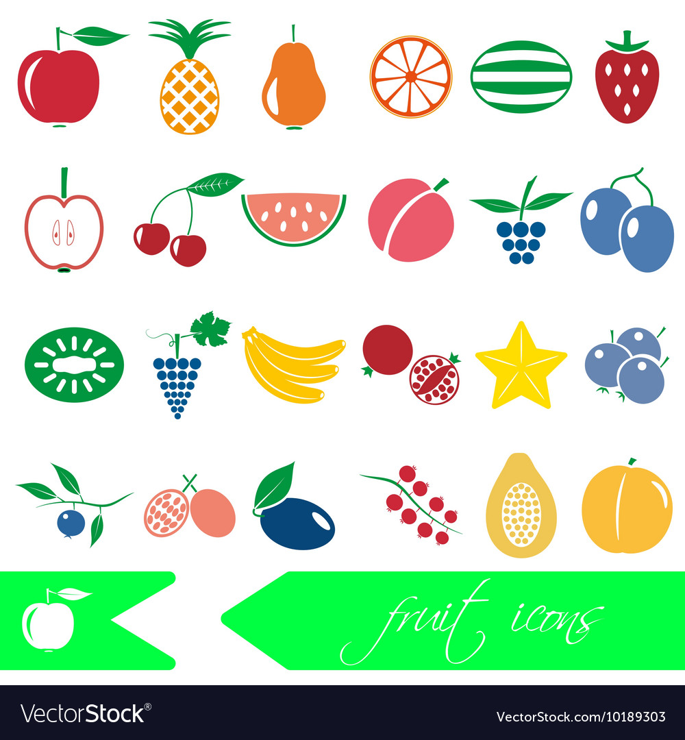 Color fruit theme simple icons set eps10 vector