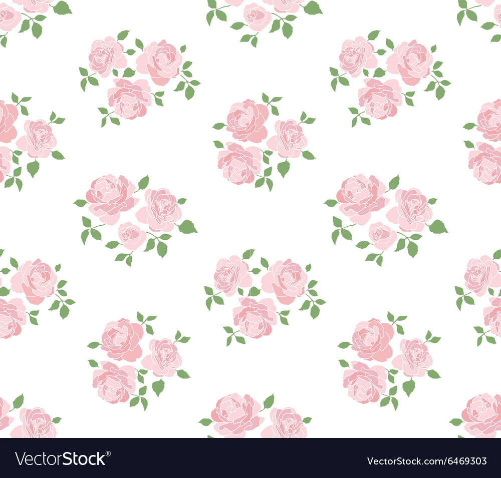 Light hand drawn rustic pattern with roses vector