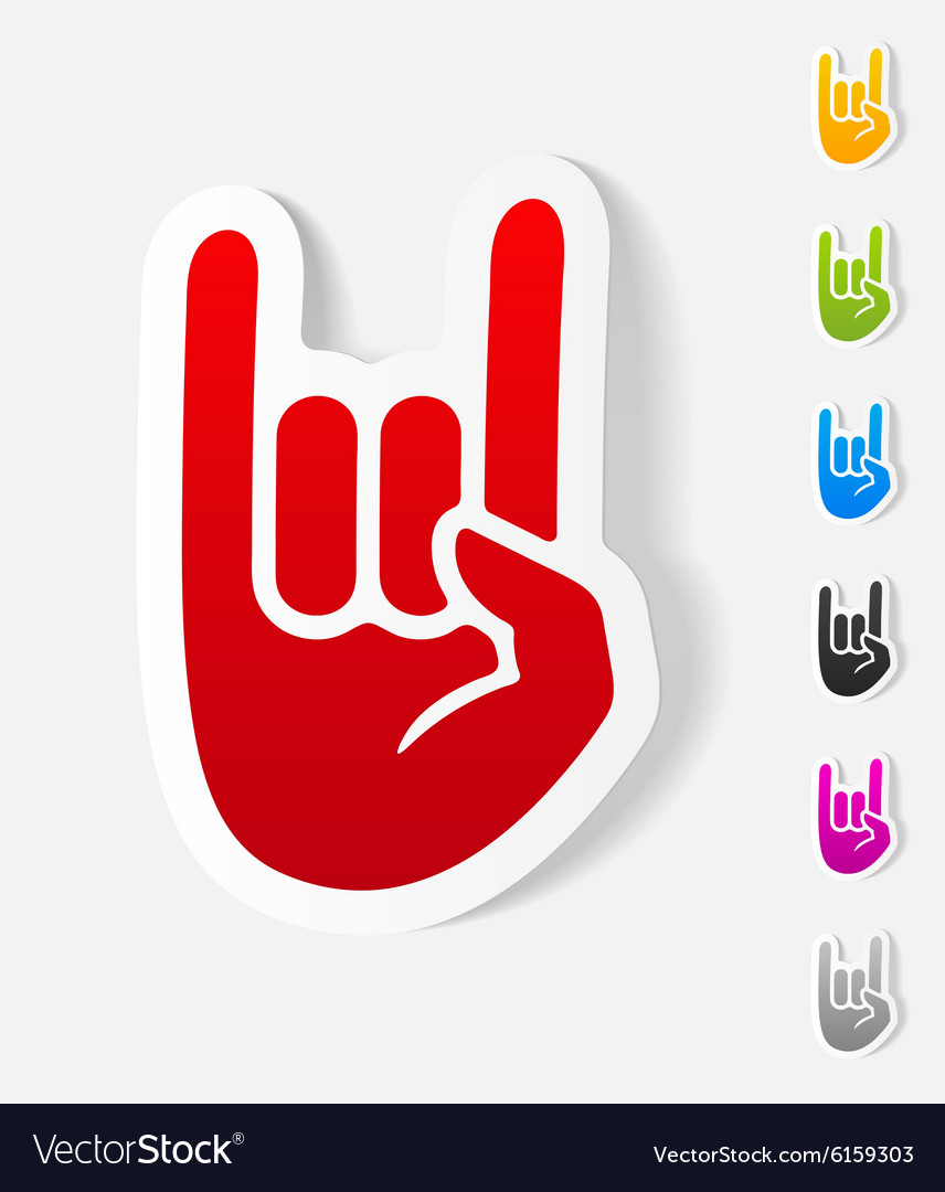 Realistic design element rock hand gesture vector