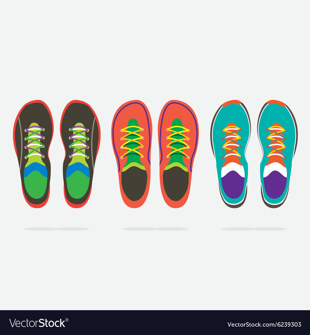 Top view of colorful running shoes vector