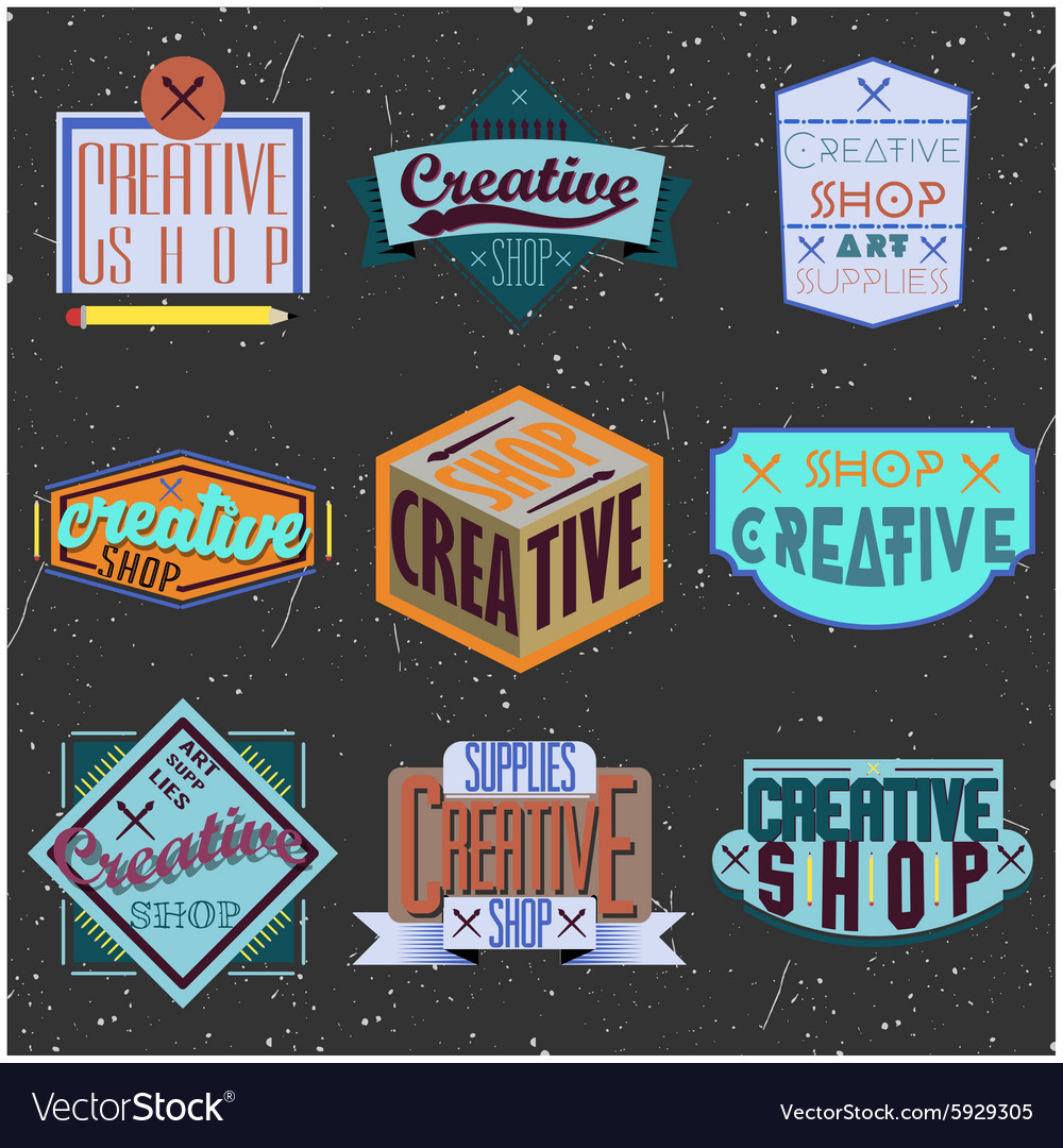 Assorted color retro design insignias logotypes vector
