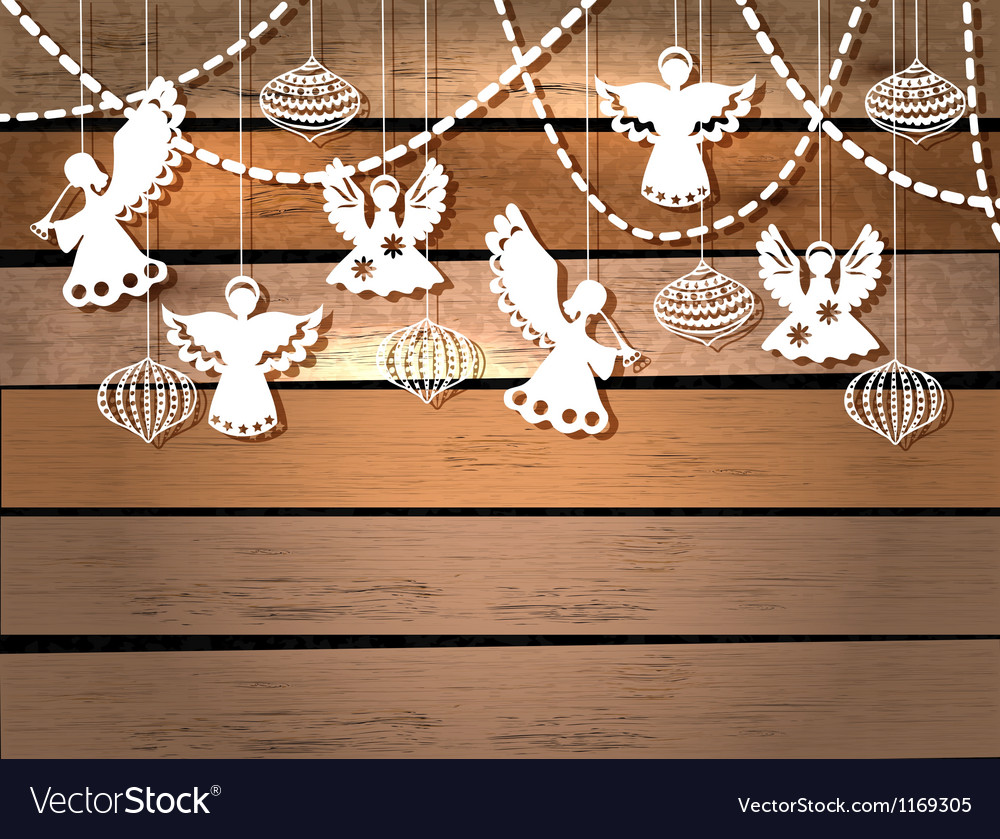 Christmas card over wood vector