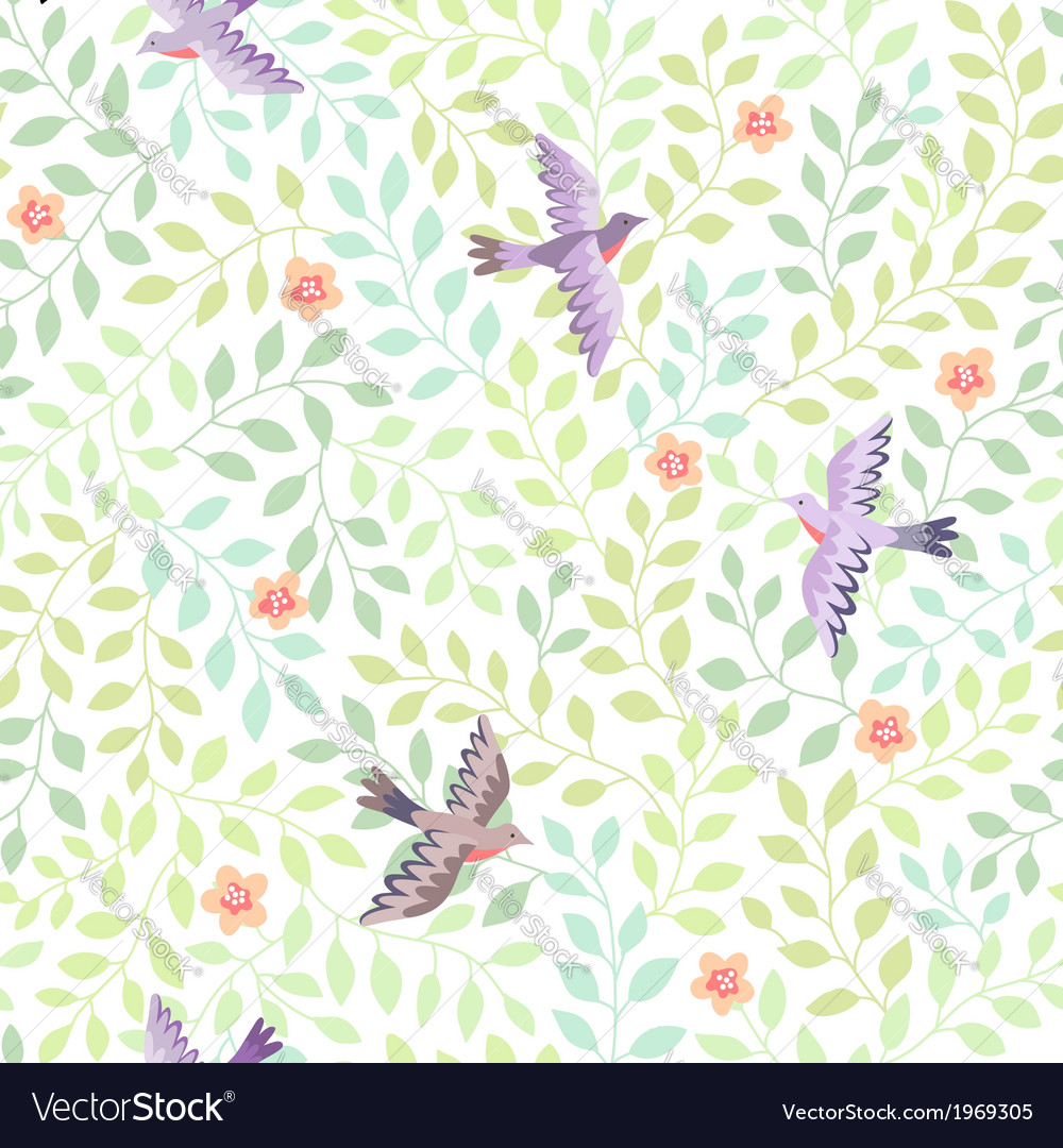 Leaves spring birds vector