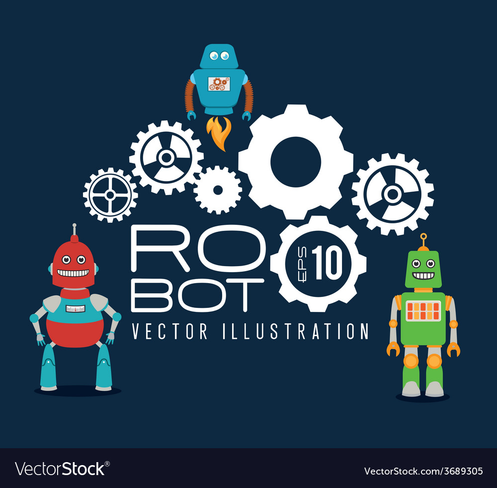 Robot design over blue background vector