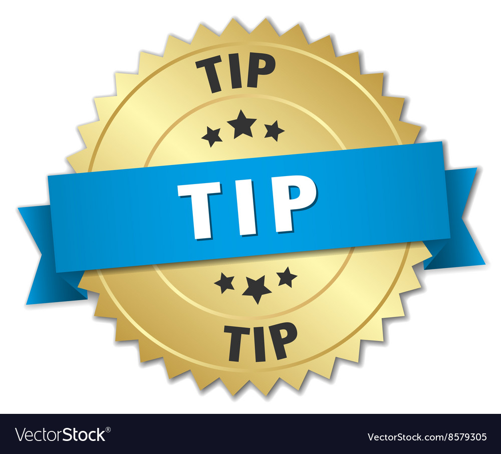 Tip 3d gold badge with blue ribbon vector