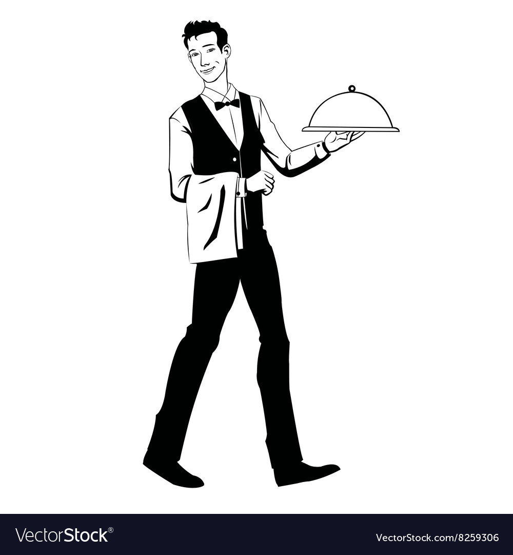 Elegant waiter with a tray vector