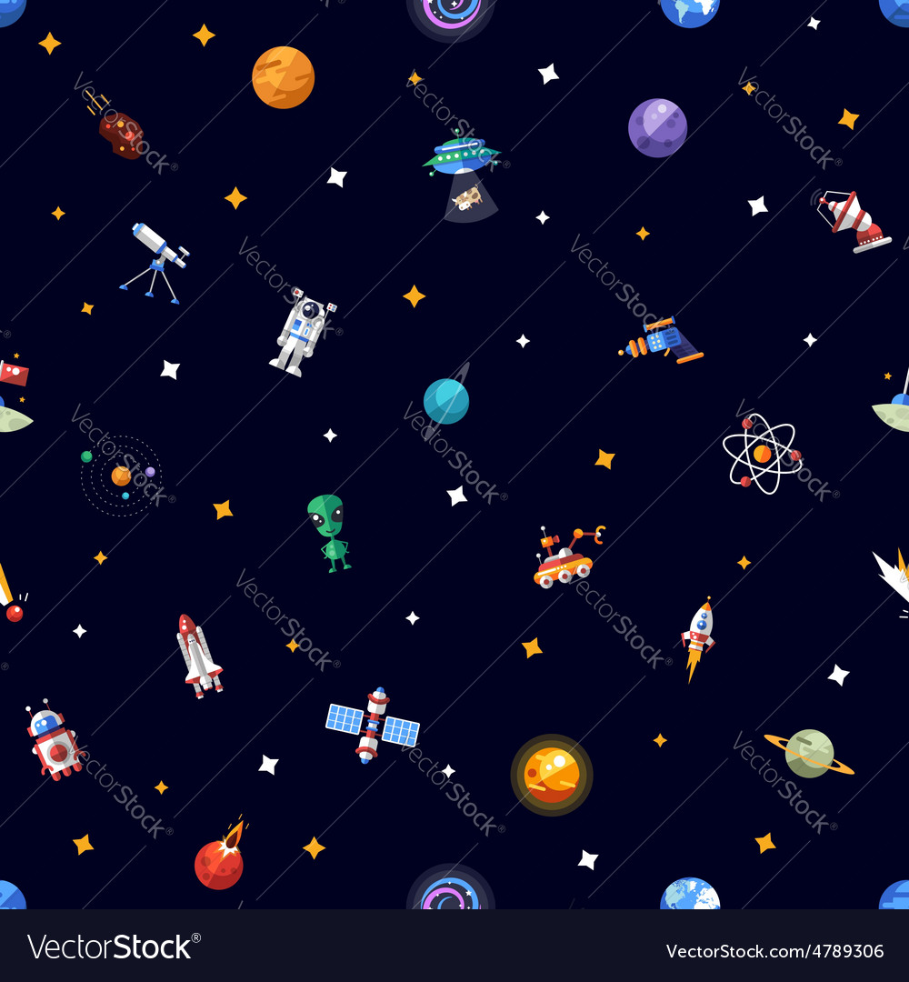 Pattern of space icons and infographics elements vector