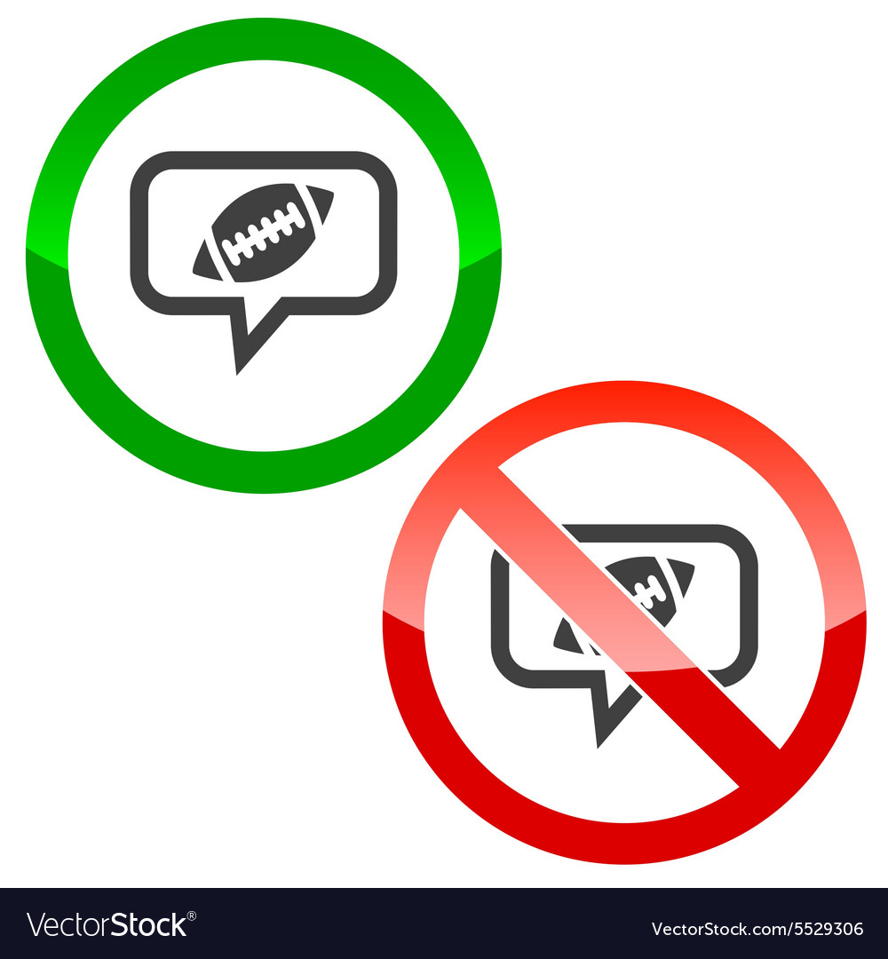 Rugby message permission signs vector