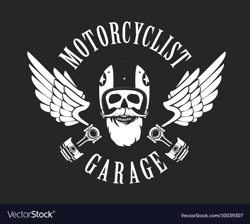 Retro emblem motorcyclist vector