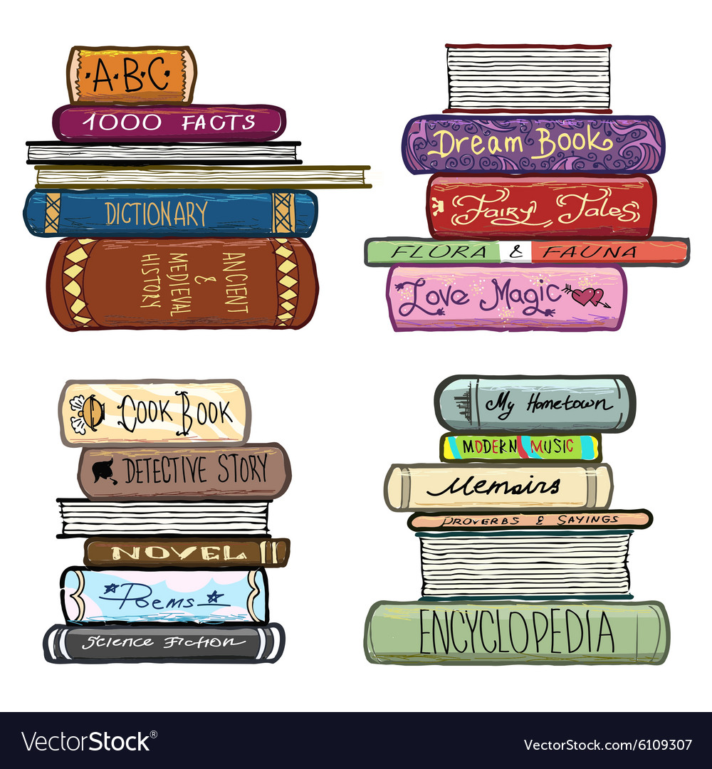 Vintage hand drawn books library set vector