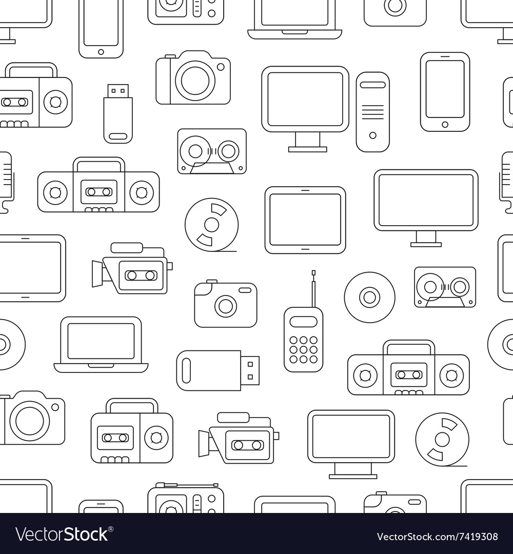 Different media devices seamless pattern vector