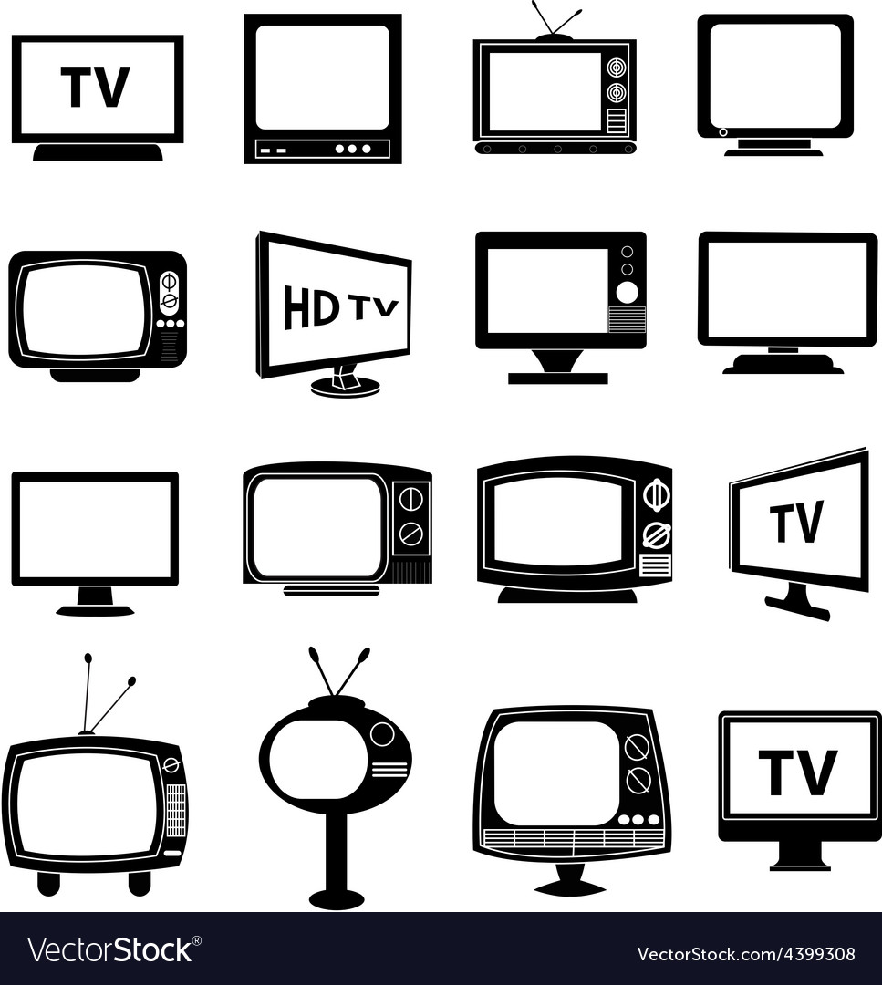 Tv monitor icons set vector
