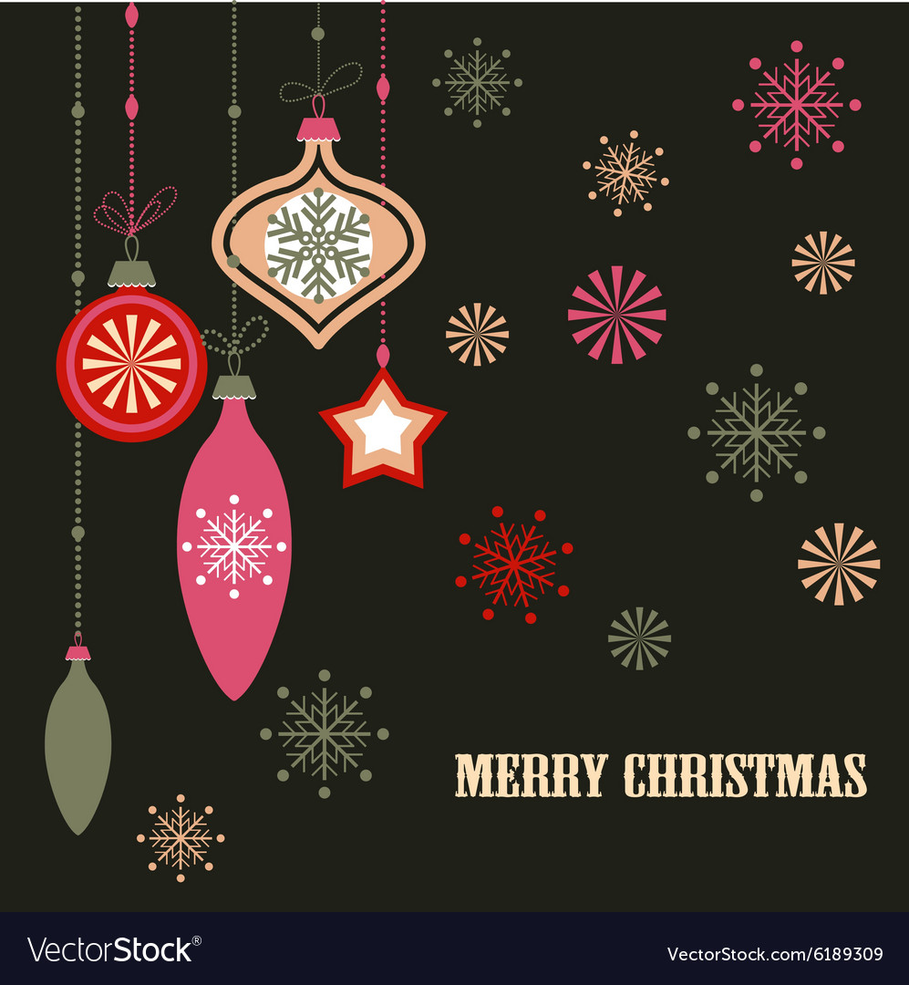 Christmas decorations on dark vector