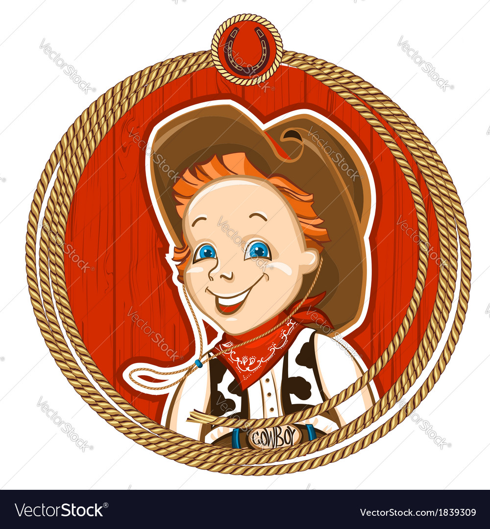 Cowboy child portrait vector