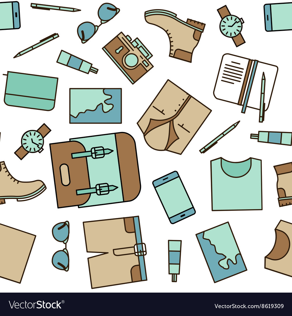 Travel stuff seamless pattern vector