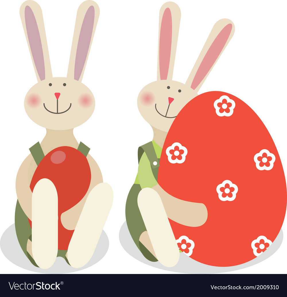 Two easter rabbits vector