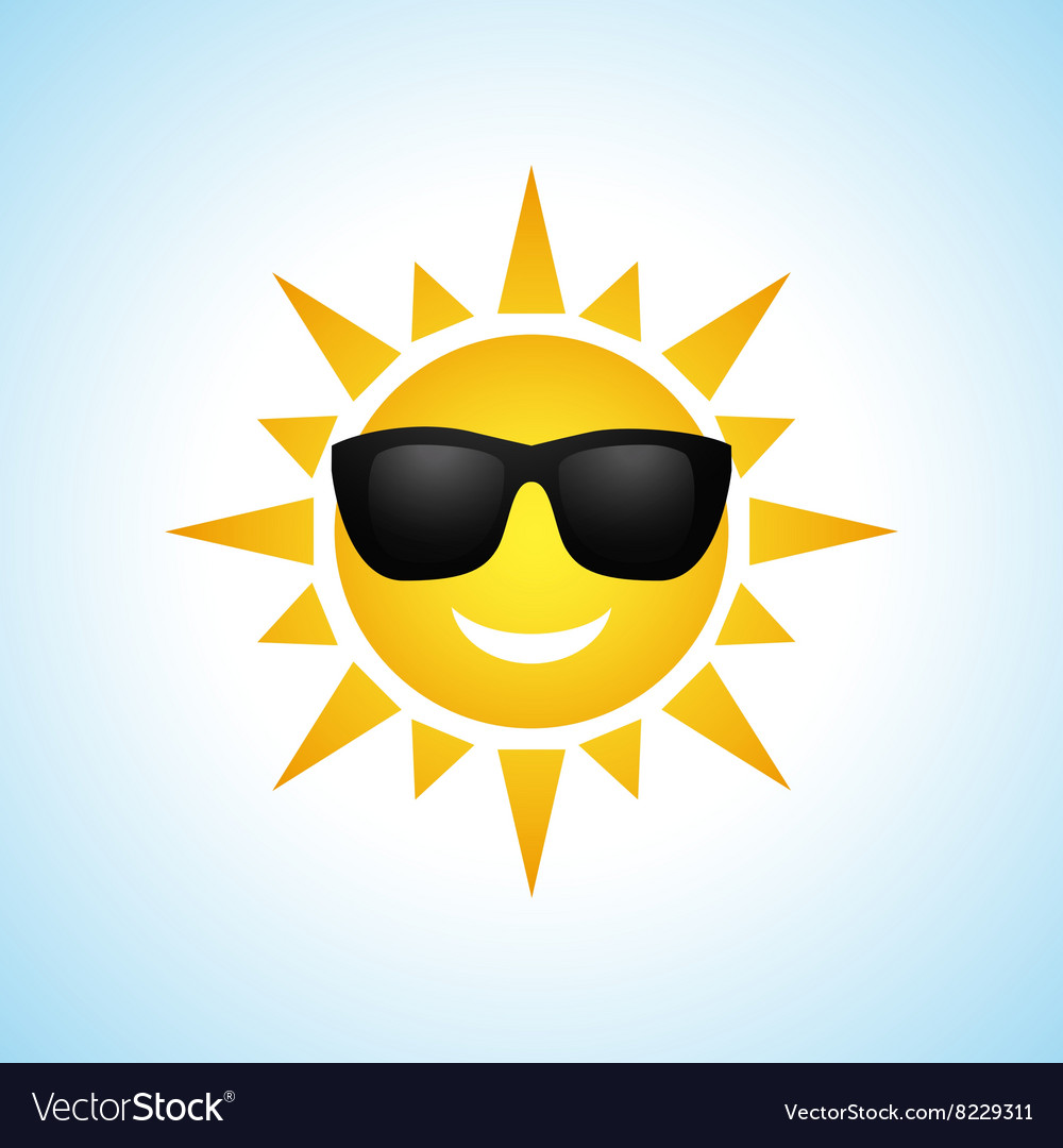 Cute cartoon summer sun icon vector