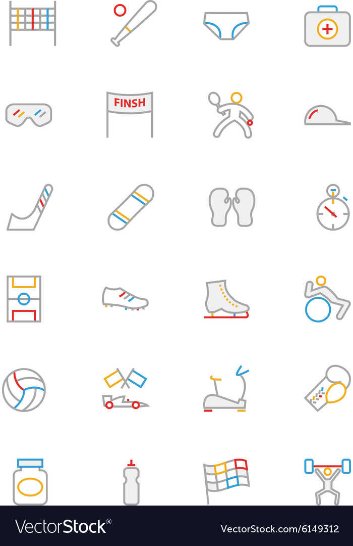 Sports colored outline icons 3 vector