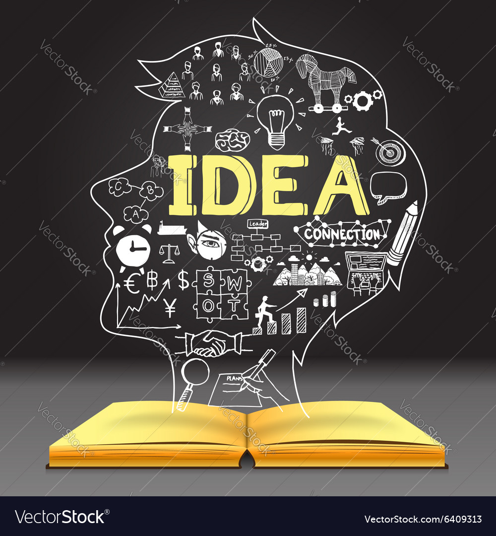 Idea in human head shape vector