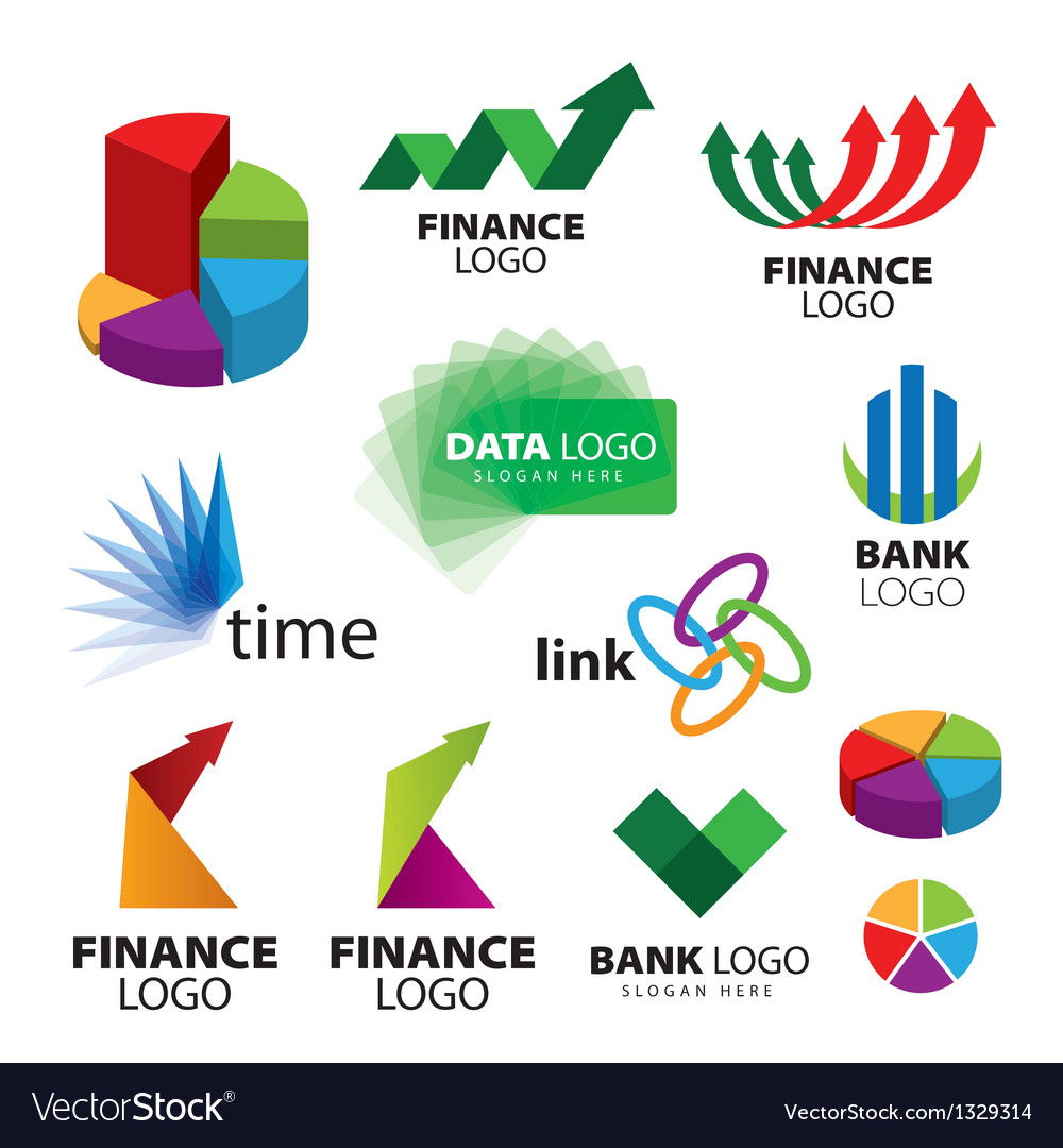 Collection of icons for banks and financial vector