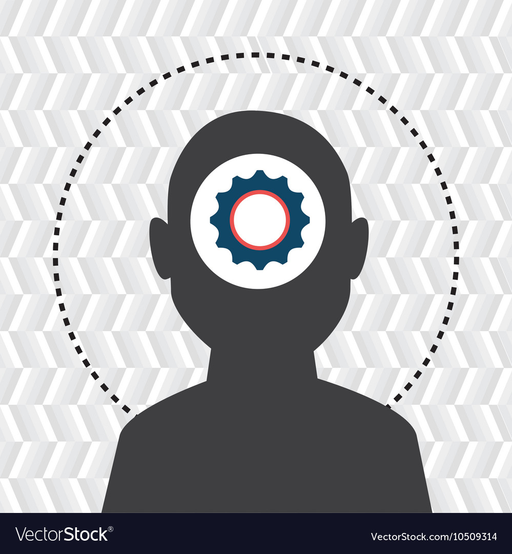 Silhouette gear wheel icon vector