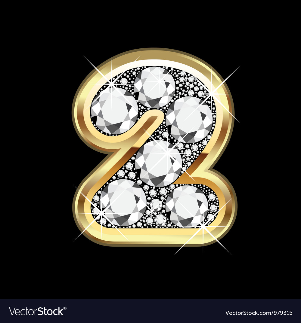 2 number gold and diamond vector