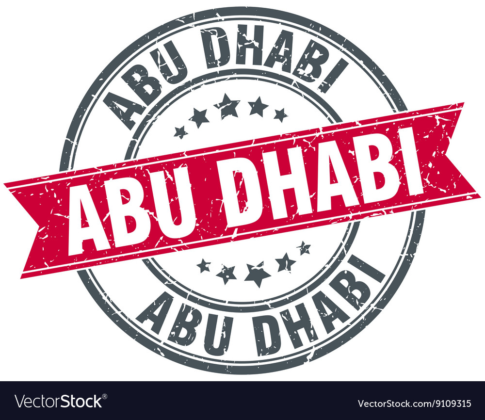 Abu dhabi red round grunge vintage ribbon stamp vector