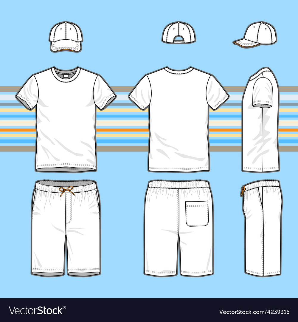 Mens tshirt cap and swim shorts set vector
