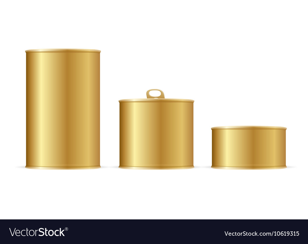 Set of gold tin cans vector