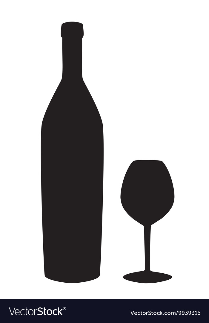 Wine bottle and glass silhouette isolated on white vector