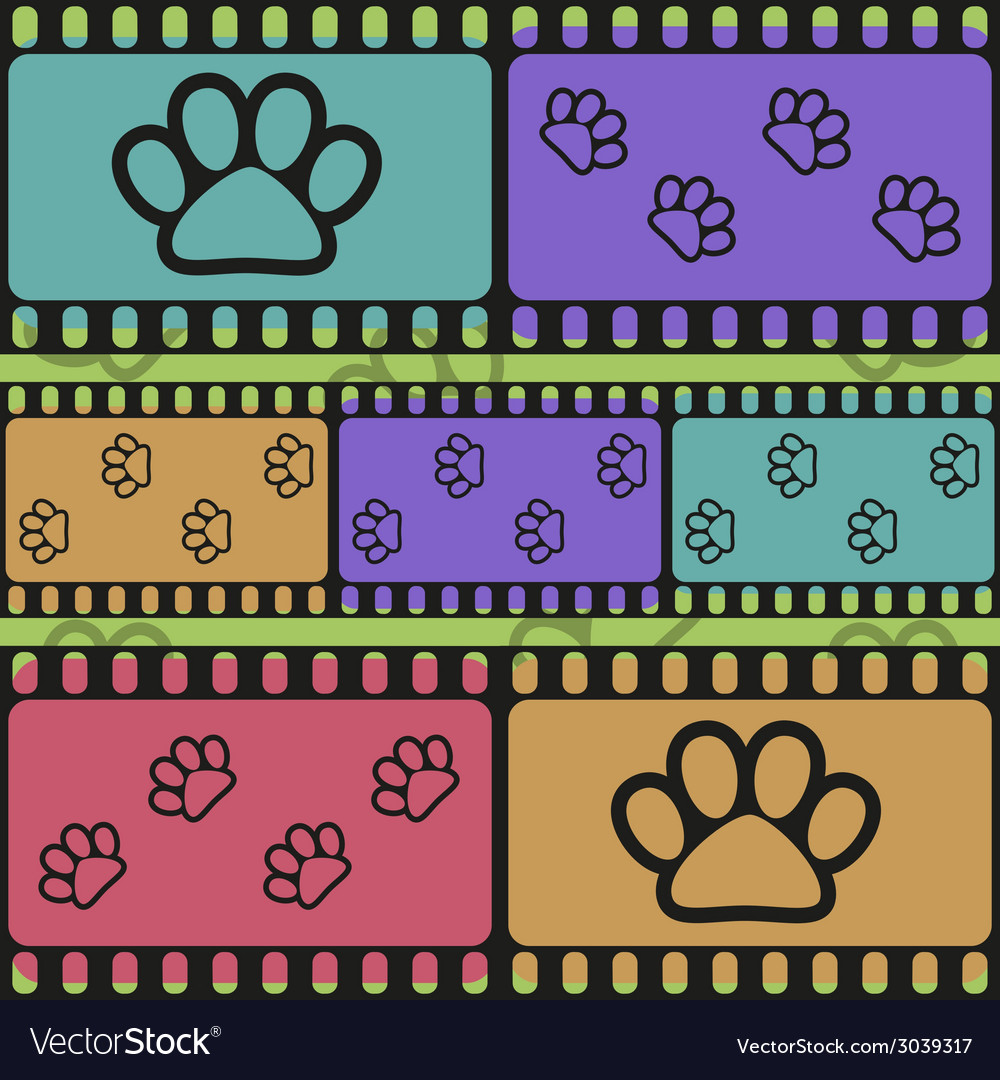 Retro background with film strips and pet paws vector