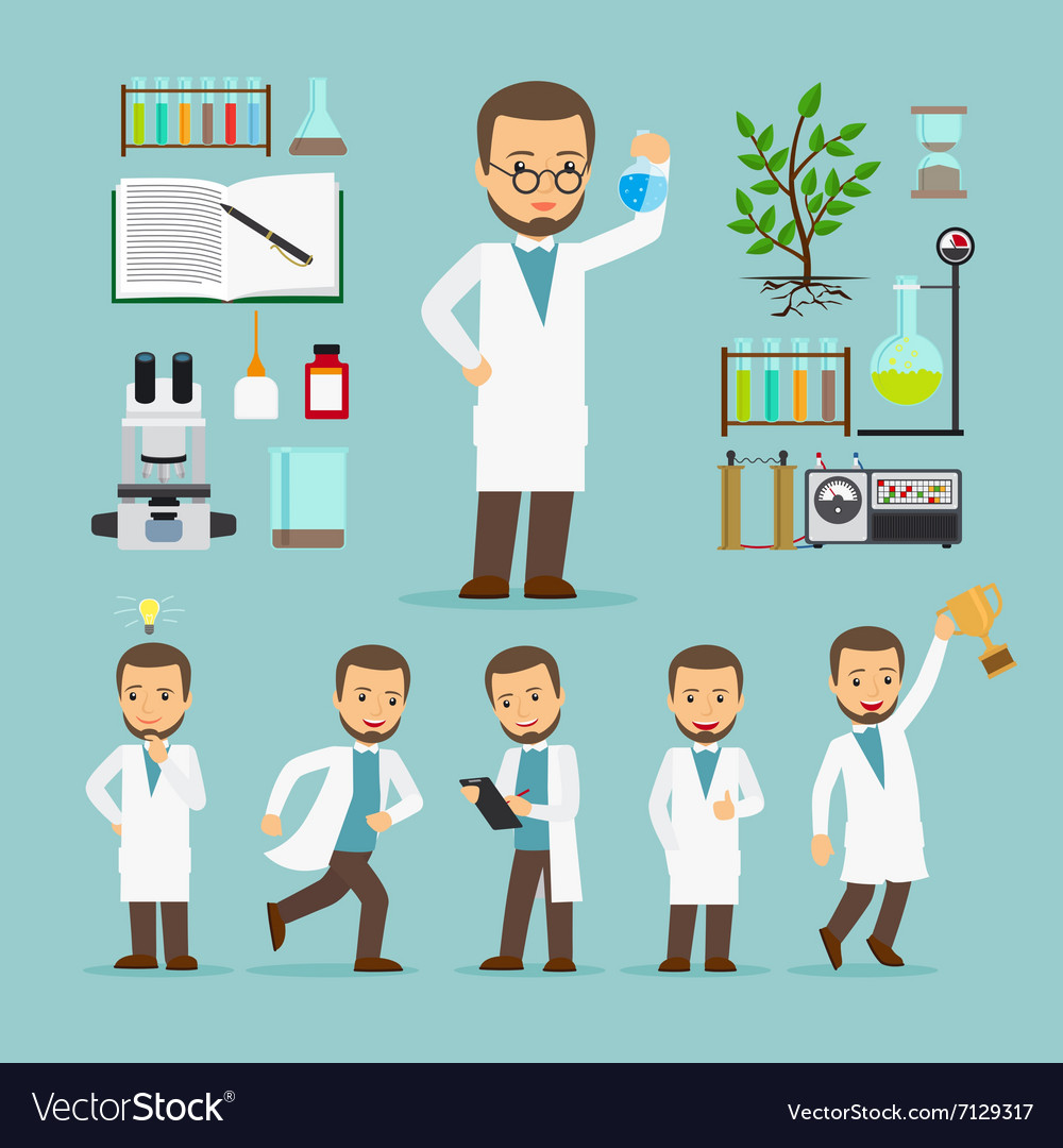 Scientist with laboratory equipment icons vector