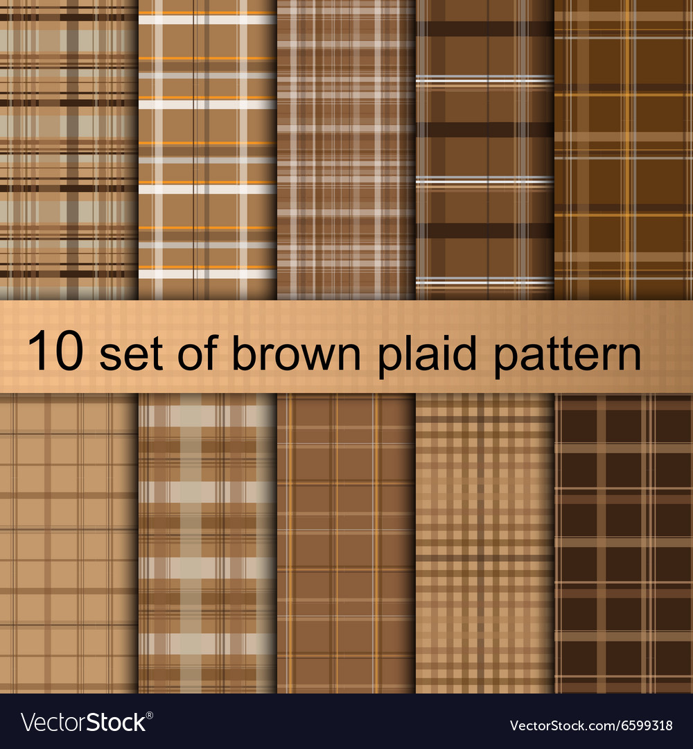 Brown plaid pattern vector