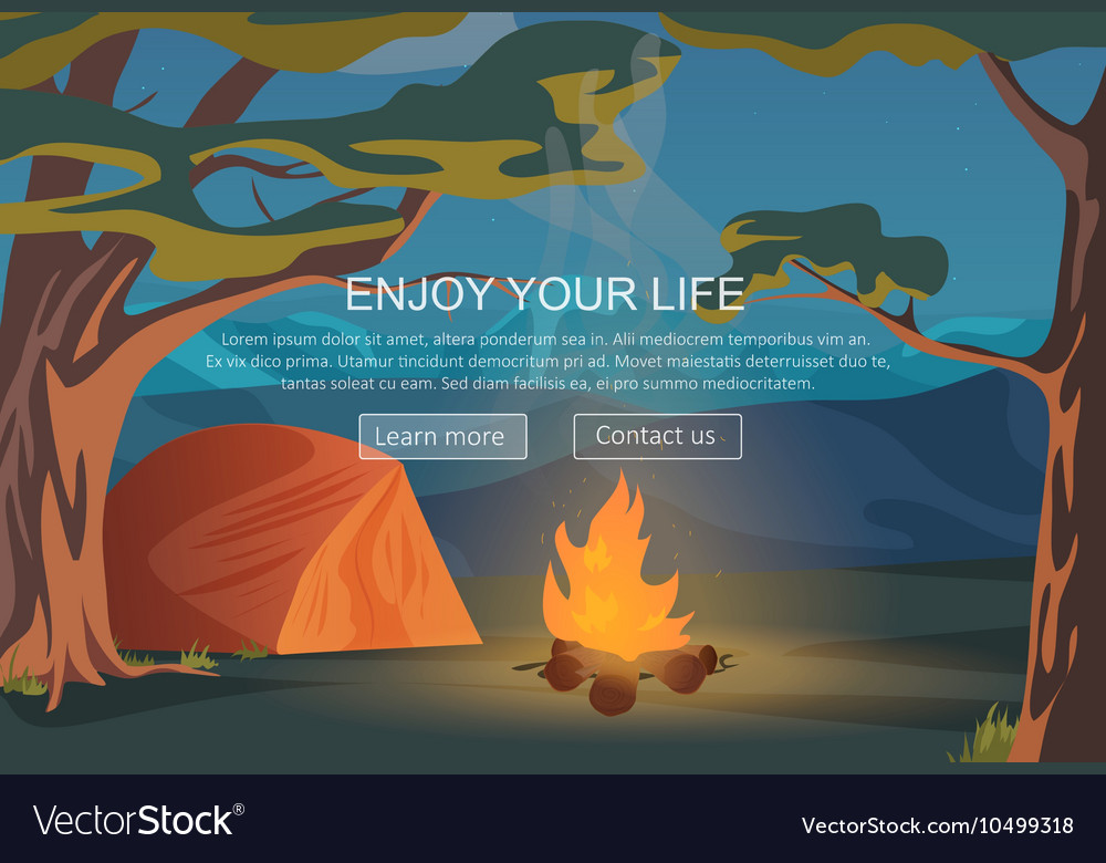 Camping walking hiking outdoor night camp vector