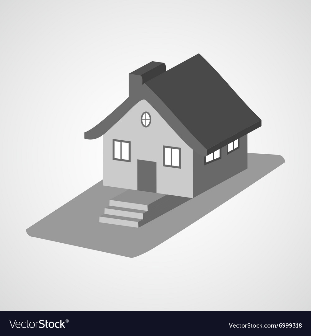 Monochrome 3d house cartoon icons isolated vector