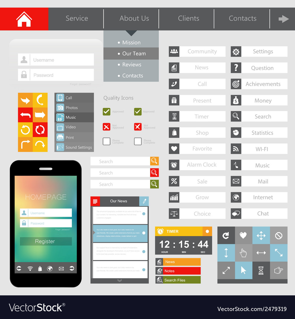 Design of mobile applications vector