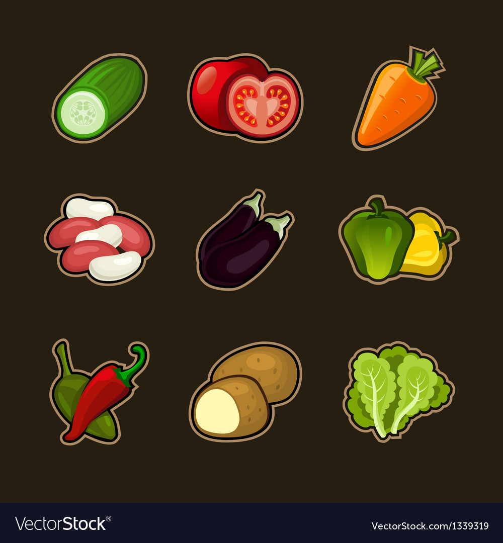 Glossy vegetable set vector