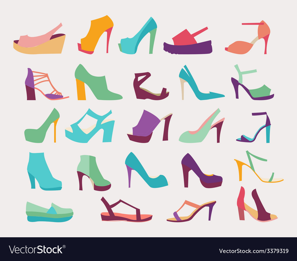 High heels women shoes set  vector