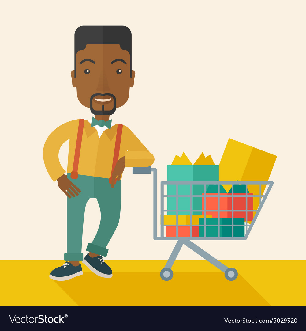 Africanamerican man with shopping cart vector
