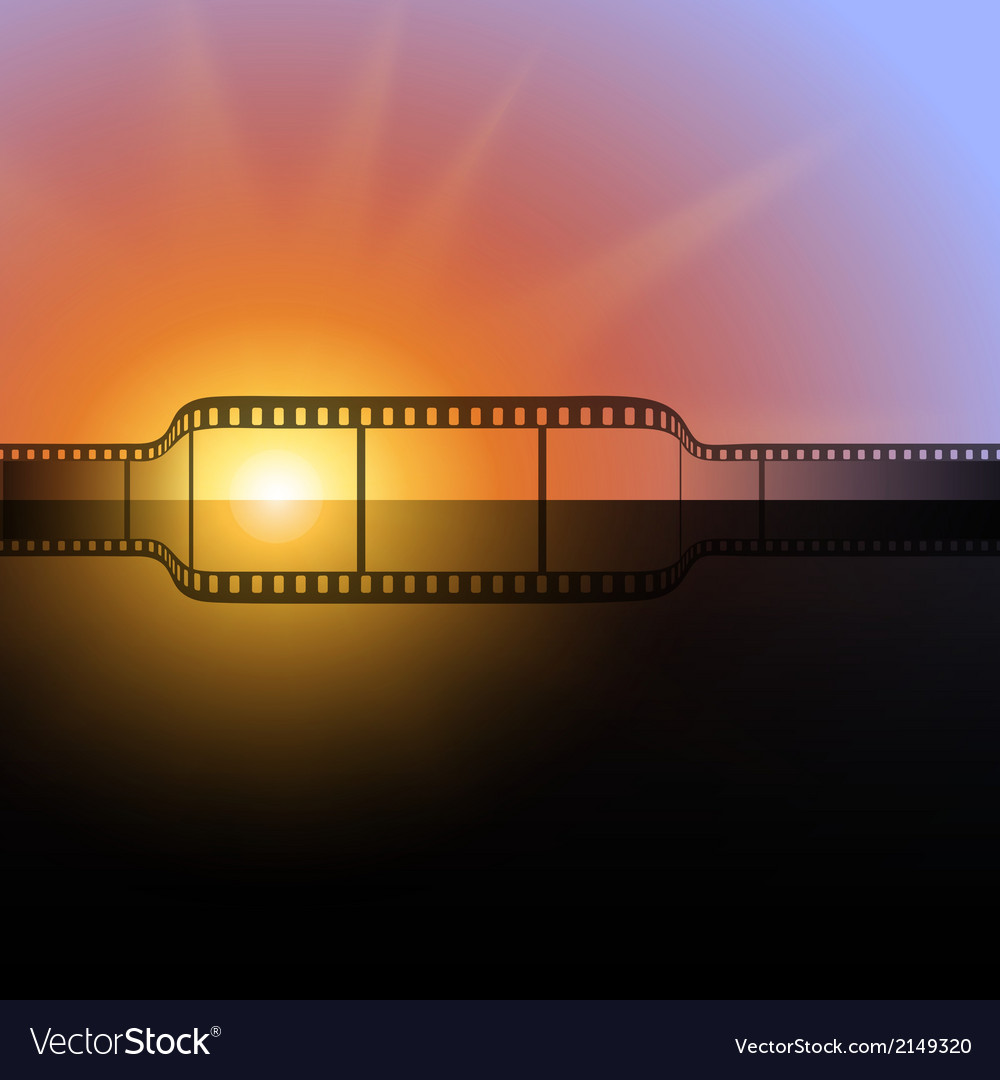 Film strip against the flash of light background vector