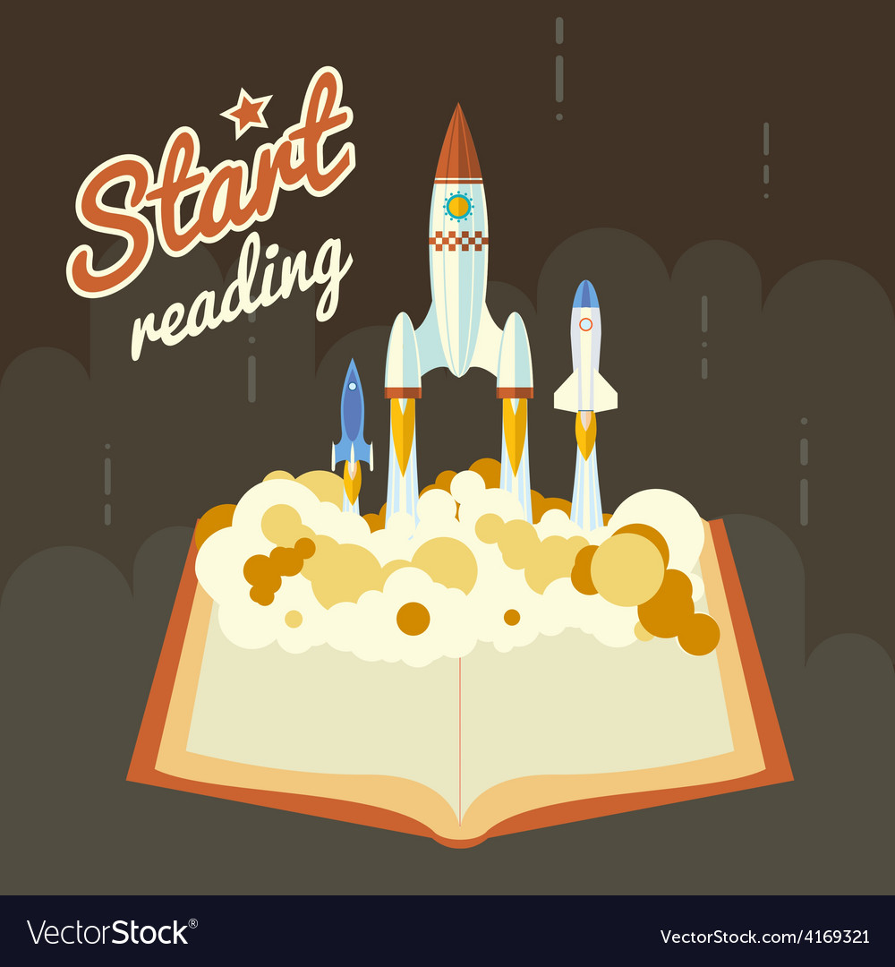 Start reading science fiction space poster concept vector